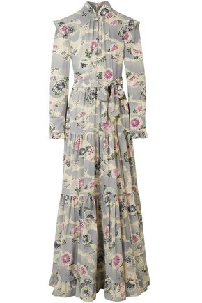 CO Floral-print silk-faille maxi dress