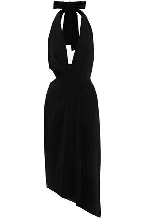 c985909503e HALSTON HERITAGE Asymmetric cutout crepe halterneck midi dress