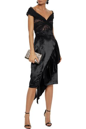REEM ACRA Cropped ruched cotton-blend lace top