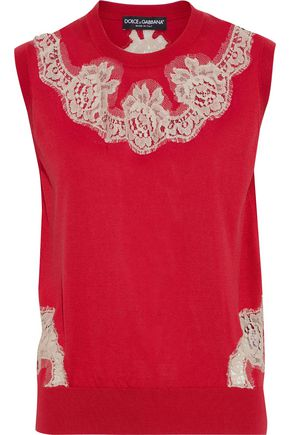 DOLCE & GABBANA Lace-appliquéd silk sweater