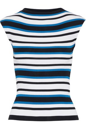 DOLCE & GABBANA Striped ribbed silk top