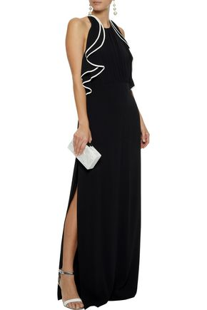 HALSTON HERITAGE Open-back ruffle-trimmed crepe gown