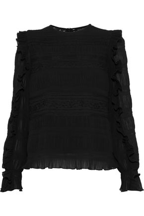 W118 by WALTER BAKER Jacquelyn ruffle-trimmed plissé chiffon and lace blouse