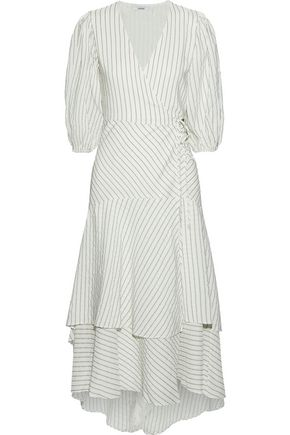 GANNI Wilkie pinstriped silk and cotton-blend seersucker midi wrap dress