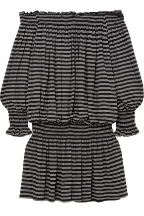 NORMA KAMALI Off-the-shoulder shirred striped stretch-jersey mini dress