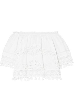 PLACE NATIONALE Bardot off-the-shoulder embroidered crocheted lace and cotton top