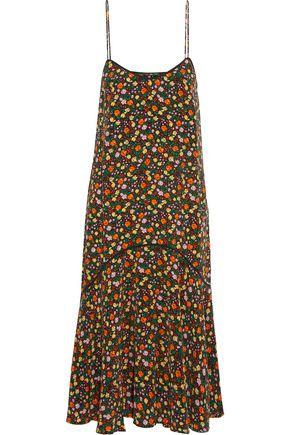 GANNI Floral-print silk crepe de chine midi dress