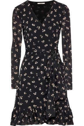 GANNI Tilden floral-print mesh mini wrap dress