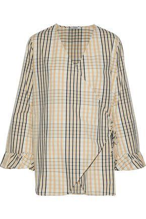 GANNI Phillips checked cotton wrap top
