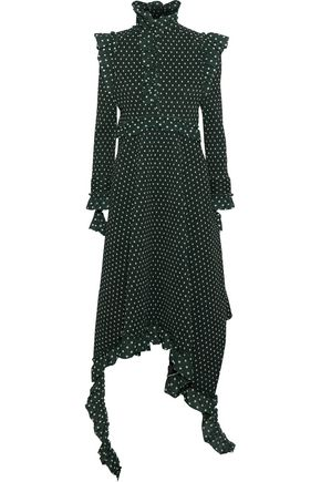 VETEMENTS Ruffled ribbed polka-dot woven midi dress