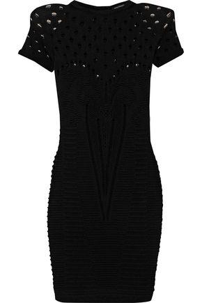 BALMAIN Paneled open and ribbed-knit mini dress