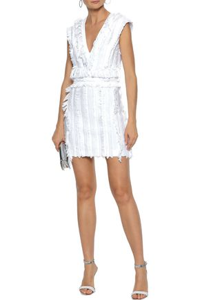 BALMAIN Fringed stretch-cotton mini dress