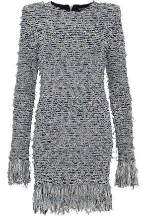 BALMAIN Frayed metallic bouclé-knit mini dress