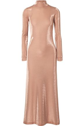 MICHAEL LO SORDO Open-back metallic cotton-blend jersey midi dress