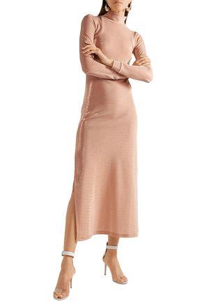 MICHAEL LO SORDO Open-back metallic cotton-blend jersey midi dress