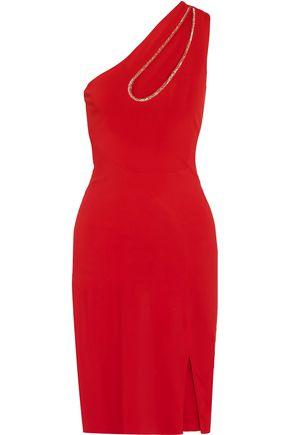HANEY Embellished cutout one-shoulder crepe mini dress
