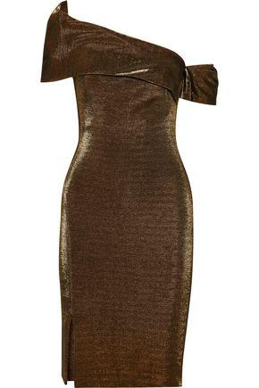 HANEY Emily one-shoulder metallic stretch-knit dress