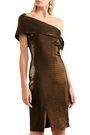 HANEY Emily one-shoulder metallic stretch-knit dress