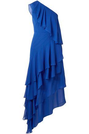 ALICE + OLIVIA Ruffled one-shoulder silk-chiffon midi dress