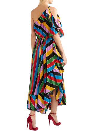 PHILOSOPHY di LORENZO SERAFINI One-shoulder striped silk crepe de chine maxi dress