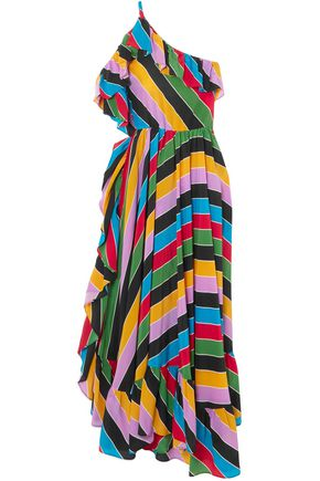 PHILOSOPHY di LORENZO SERAFINI One-shoulder striped silk crepe de chine maxi dress