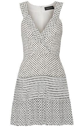 SALONI Wrap-effect polka-dot silk-georgette mini dress