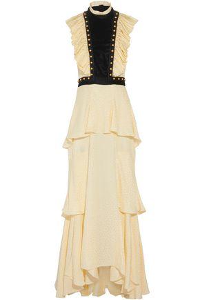 PHILOSOPHY di LORENZO SERAFINI Tiered velvet-paneled open-back jacquard gown