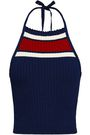 REDValentino Striped ribbed-knit halterneck top