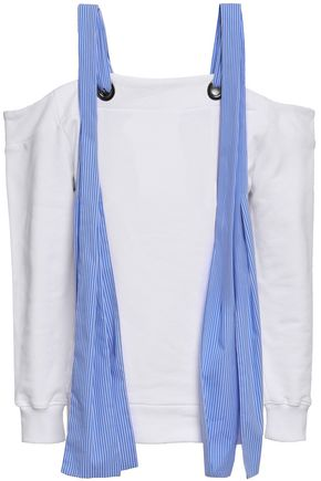 MSGM Cold-shoulder French cotton-terry sweatshirt