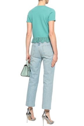 REDValentino Paneled lace and stretch-knit top