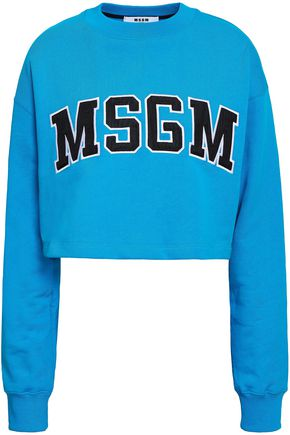MSGM Cropped appliquéd French cotton-terry sweatshirt