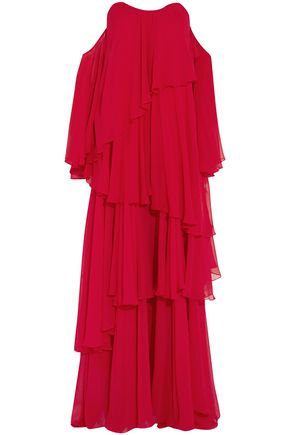 CAROLINE CONSTAS Cold-shoulder silk-chiffon maxi dress