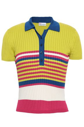 REDValentino Striped ribbed cotton polo shirt