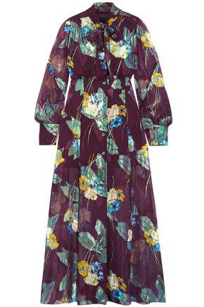 ANNA SUI Floral-print metallic fil coupé silk-blend midi dress