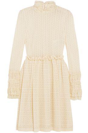 PHILOSOPHY di LORENZO SERAFINI Crochet-knit turtleneck mini dress