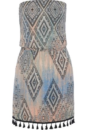 TART COLLECTIONS Anita strapless tasseled printed stretch-modal jersey mini dress