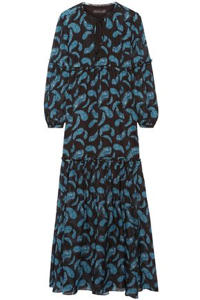 RACHEL ZOE Printed silk maxi dress