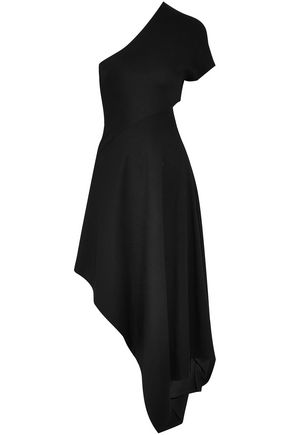 ROSETTA GETTY One-shoulder cutout draped stretch-knit midi dress
