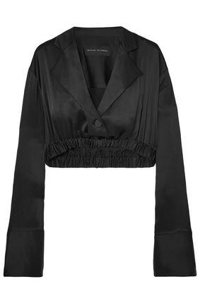MICHAEL LO SORDO Cropped silk-satin top
