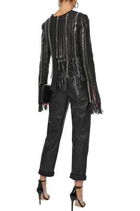 BALMAIN Fringed chain-trimmed leather top