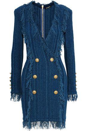 BALMAIN Button-embellished fringed cotton mini dress