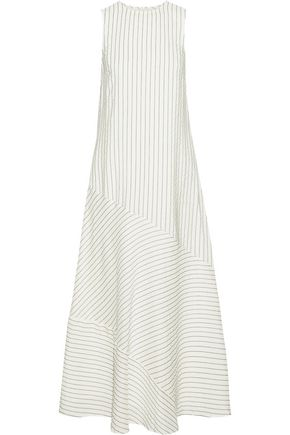 GANNI Wilkie pinstriped silk and cotton-blend seersucker midi dress