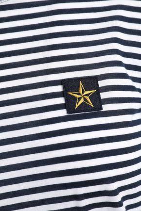REDValentino Appliquéd striped cotton-jersey top