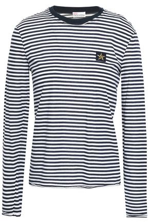 REDValentino Appliquéd striped cotton-jersey top