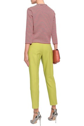 REDValentino Striped broderie anglaise cotton-blend top