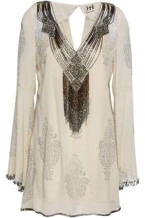HAUTE HIPPIE Embellished printed silk-georgette blouse