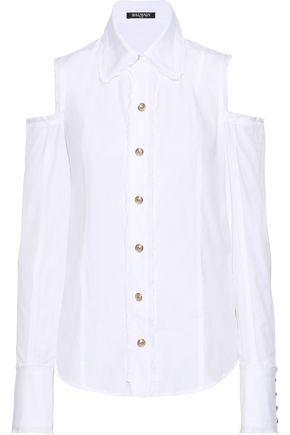 BALMAIN Cold-shoulder frayed cotton-poplin shirt