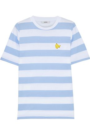 Everman Appliquéd Striped Cotton Jersey T Shirt by Ganni