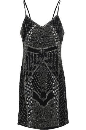 HAUTE HIPPIE Embellished embroidered silk-georgette mini dress