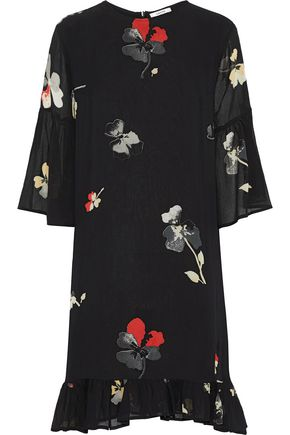 GANNI Lorita ruffle-trimmed floral-print georgette dress
